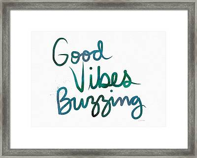 Good Vibes Buzzing- Art By Linda Woods Framed Print
