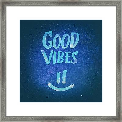 Good Vibes  Funny Smiley Statement Happy Face Blue Stars Edit Framed Print