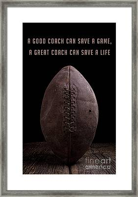 Framed Print featuring the photograph Good Vs Great Football Coaches by Edward Fielding