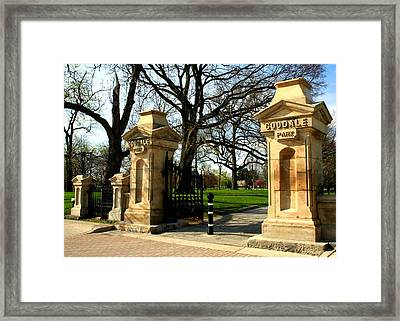 Goodale Park Gateway Framed Print by Laurel Talabere