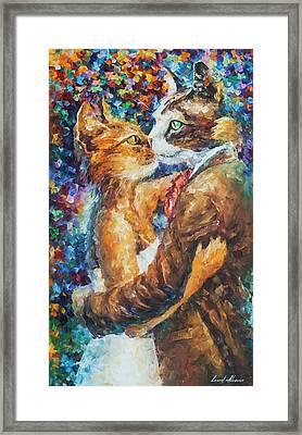 Goodbye My Miau  Framed Print by Leonid Afremov