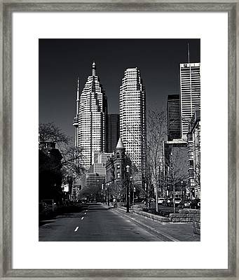 Gooderham Flatiron Building And Toronto Downtown Framed Print by Brian Carson