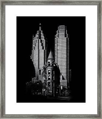 Gooderham Flatiron Building And Toronto Downtown No 2 Framed Print by Brian Carson