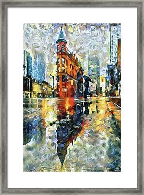 Gooderham Flatiron Building In The Rain Framed Print