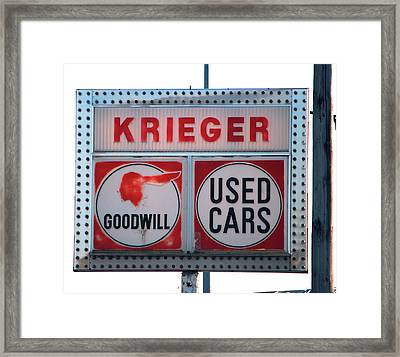 Goodwill Used Cars Framed Print by Jame Hayes