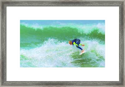 Goofin Off Surfing Watercolor Framed Print
