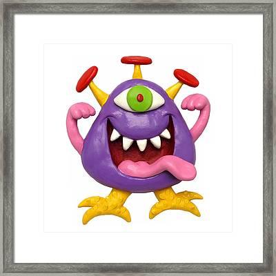 Goofy Purple Monster Framed Print