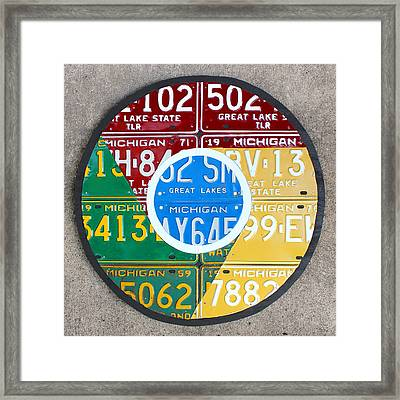 Google Chrome Logo Recycled License Plate Art On Cement Wall Framed Print