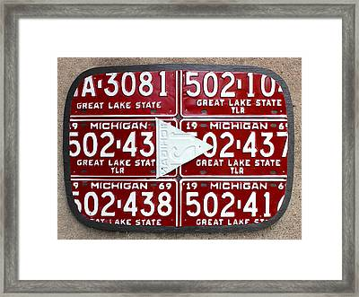 Google Youtube Logo Recycled License Plate Art On Cement Wall Framed Print by Design Turnpike