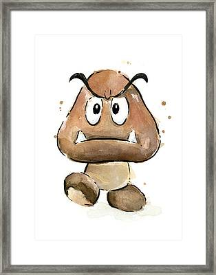 Goomba Watercolor Framed Print by Olga Shvartsur