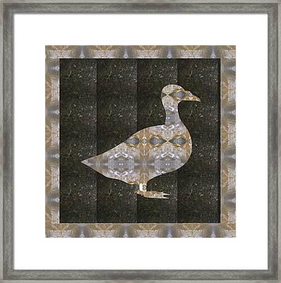 Goose Bird Crystal Stone Healing Tile With Border Framed Print by Navin Joshi