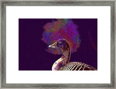 Framed Print featuring the digital art Goose Bird Wild Goose  by PixBreak Art