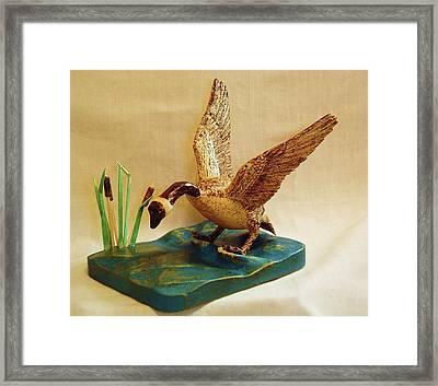 Goose Landing Framed Print by Russell Ellingsworth