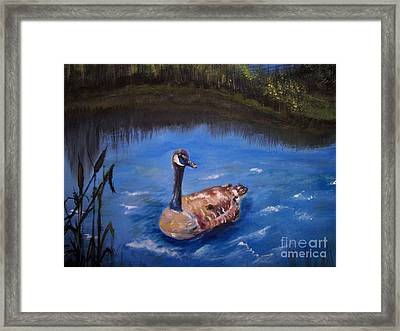 Framed Print featuring the painting Goose by Leslie Allen