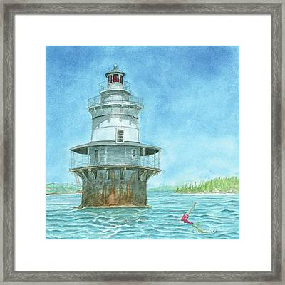 Goose Rocks Light At High Tide Framed Print