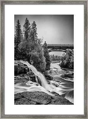 Gooseberry Falls Bridge In Black And White Framed Print