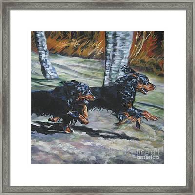 gordon Setter Autumn run Framed Print by Lee Ann Shepard