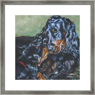 Gordon Setter Mom And Pup Framed Print by Lee Ann Shepard