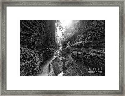 Gorge Trail At Watkins Glen Bw Framed Print by Michael Ver Sprill