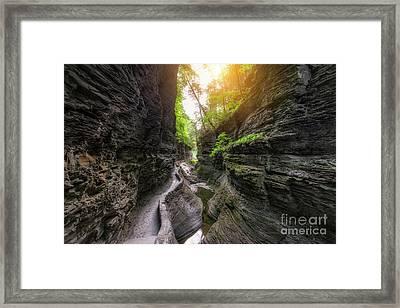 Gorge Trail At Watkins Glen  Framed Print by Michael Ver Sprill