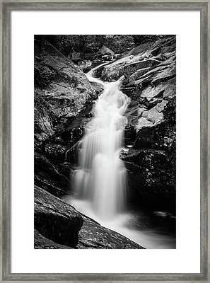 Gorge Waterfall In Black And White Framed Print