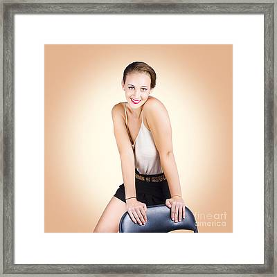 Gorgeous 1950s House Wife Posing On Chair Framed Print