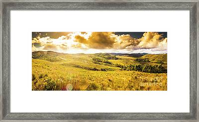 Gorgeous Golden Sunset Field  Framed Print
