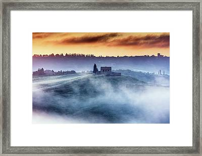 Gorgeous Tuscany Landcape At Sunrise Framed Print by Evgeni Dinev
