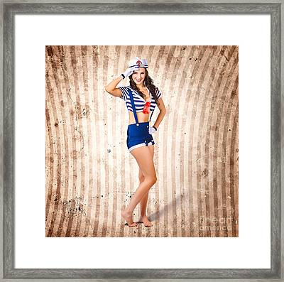 Gorgeous Young Retro Pinup Sailor Girl Framed Print