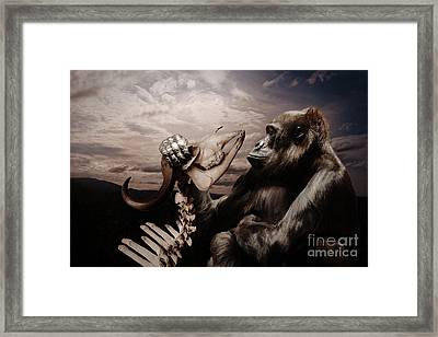 Framed Print featuring the photograph Gorilla And Bones by Christine Sponchia