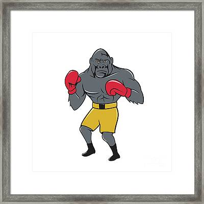 Gorilla Boxer Boxing Stance Cartoon Framed Print