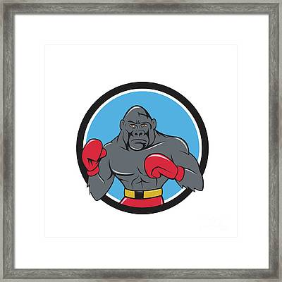 Gorilla Boxer Boxing Stance Circle Cartoon Framed Print