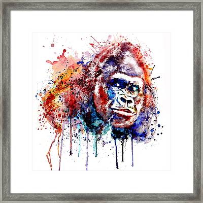 Framed Print featuring the mixed media Gorilla by Marian Voicu