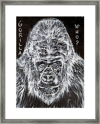 Framed Print featuring the painting Gorilla Who? by Fabrizio Cassetta
