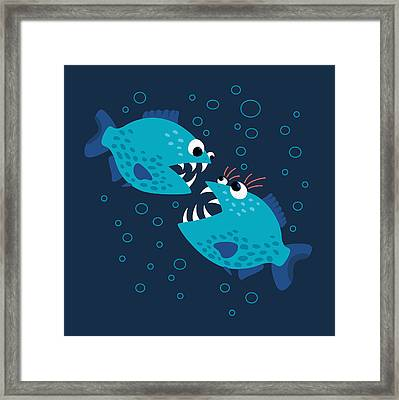 Gossiping Blue Piranha Fish Framed Print