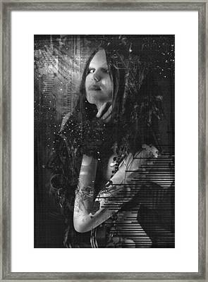 Goth Girl - Black And White Framed Print by Rosemary Smith