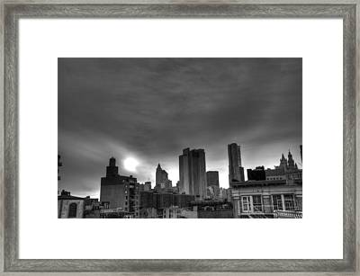 Gotham Black And White Framed Print by Randy Aveille