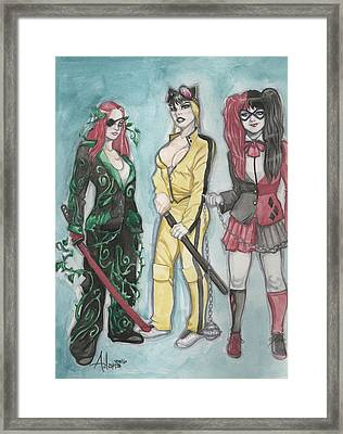 Gotham City Sirens Kill Bill Mashup Framed Print