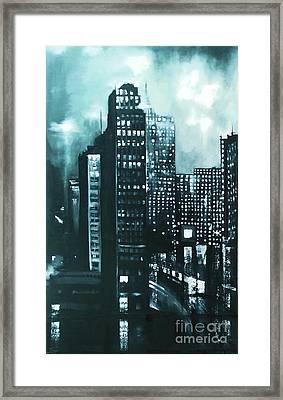 Gotham Painting Framed Print by Maja Sokolowska