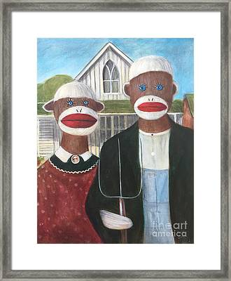 Framed Print featuring the painting Gothic American Sock Monkeys by Randol Burns