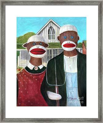 Gothic American Sock Monkeys Framed Print