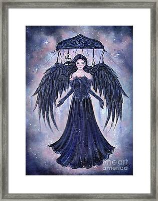 Gothic Angel Darkness To The Light Framed Print by Renee Lavoie