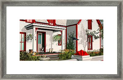 Framed Print featuring the painting Gothic Cat House by Peter J Sucy