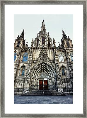 Gothic Cathedral Of The Holy Cross And Saint Eulalia Framed Print