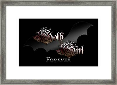 Gothic Girl Forever Bat Wing Framed Print
