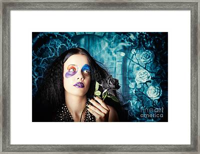 Gothic Girl Holding Black Rose. Death And Mourning Framed Print