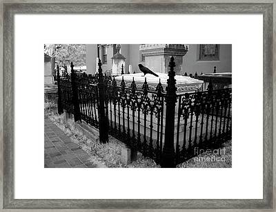 Gothic Haunting Surreal Cemetery Gate Coffin With Raven - South Carolina Revolutionary War Grave Framed Print