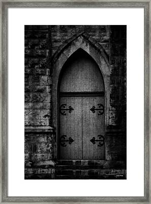 Gothic Door Memphis Church Bw Framed Print