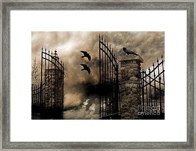 Gothic Surreal Fantasy Ravens Gated Fence  Framed Print