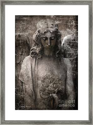 Gothic Surreal Mourning Angel - Inspirational Angel Art - Believe  Framed Print